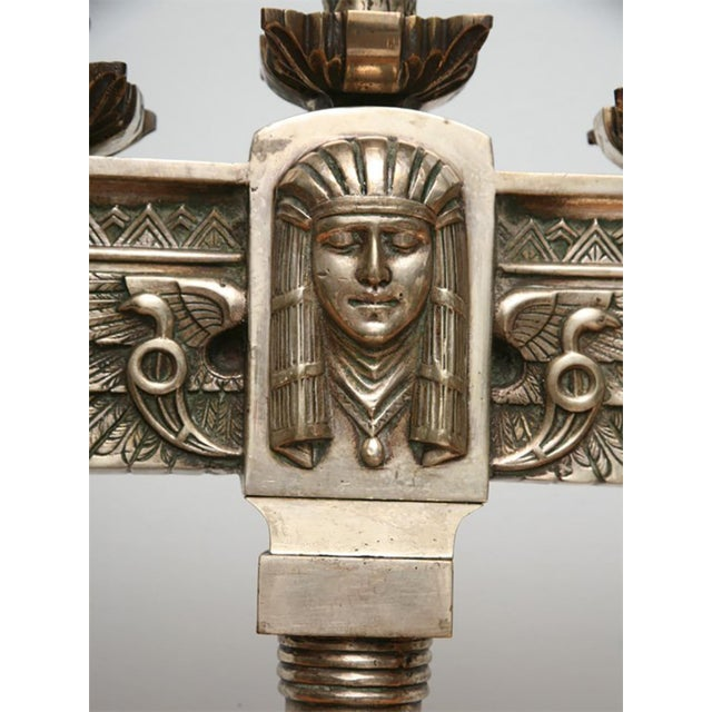 Gold Fine Pair of Art Deco Silvered Bronze Five-Light Candelabra For Sale - Image 8 of 9