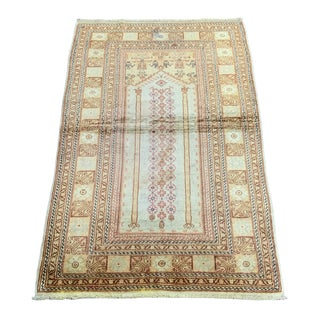 1980s Silk on Cotton Palace Gate Design Rug - 3′ × 4′8″ For Sale