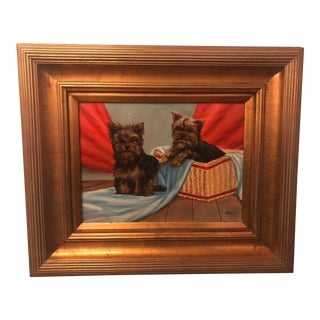 1980s Bichon Bolognese Dogs Oil on Canvas Painting For Sale