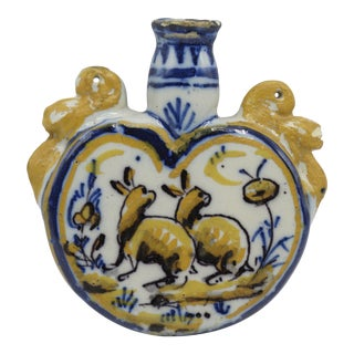 Antique French Faience Flask With Dog & Rabbits For Sale