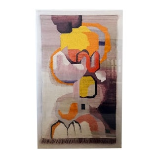 Large Scandinavian Mid-Century Framed Tapestry For Sale