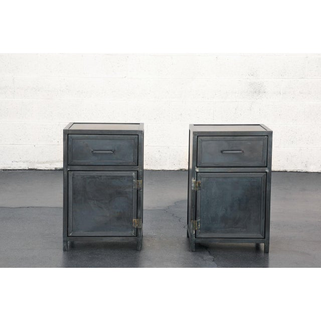 Pair of Custom Industrial Steel Nightstand Cabinets by Rehab Vintage, Made to Order For Sale - Image 4 of 6