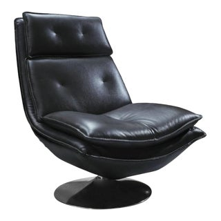 Pasargad DC Turin Leather Swivel Lounge Chair For Sale