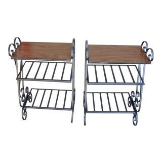 Mid Century Wrought Iron 3 Tier Tables - a Pair For Sale