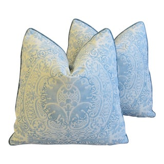 "Blue & White Quadrille Linen & Romo Velvet Feather/Down Pillows 21"" Square - Pair For Sale"