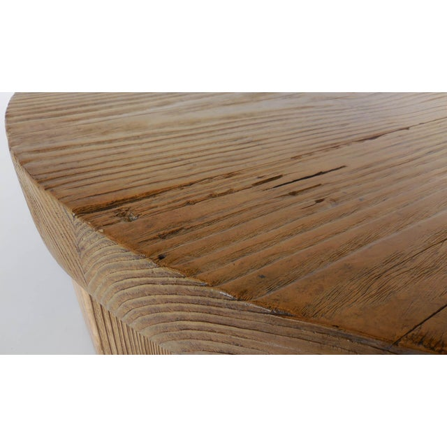 Wood Reclaimed Wood Low Round Coffee Table by Dos Gallos Studio For Sale - Image 7 of 10