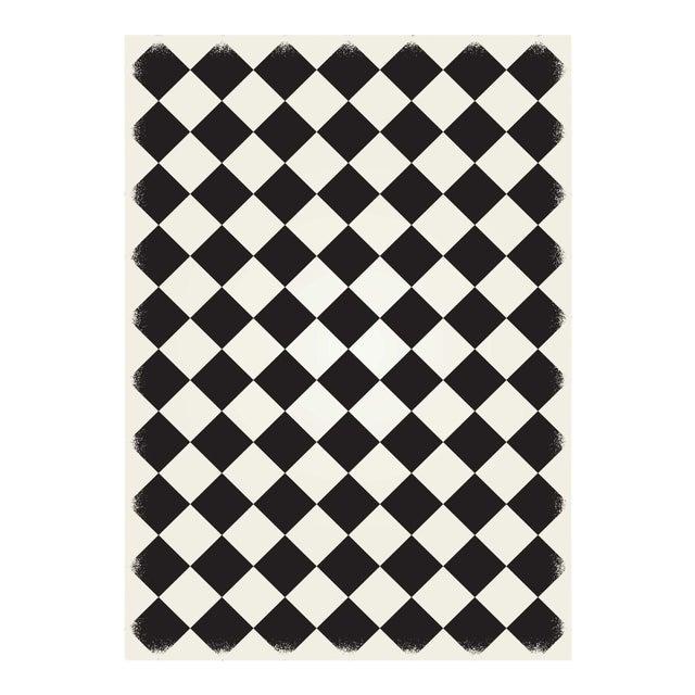 Black & White Diamond European Design Rug - 5' X 7' For Sale