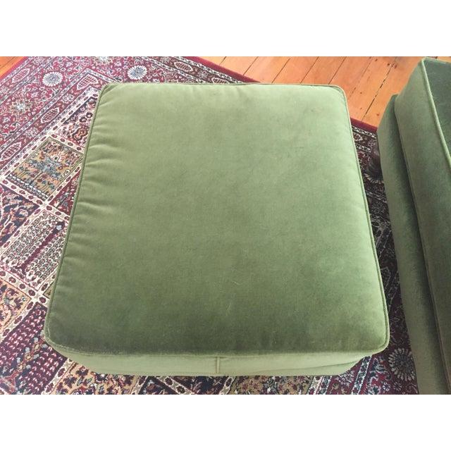 Roger + Chris Velvet Basel Armchair & Ottoman For Sale - Image 4 of 8