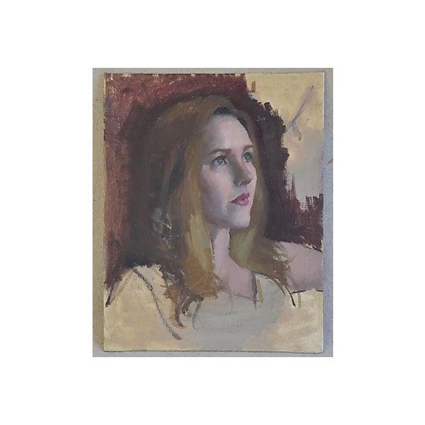 Vintage Female w/ Auburn Hair Portrait Oil Painting Study - Image 6 of 6