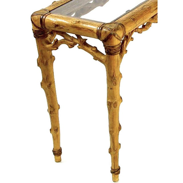 Glass Faux Bois Carved Wood and Glass Console Table For Sale - Image 7 of 10
