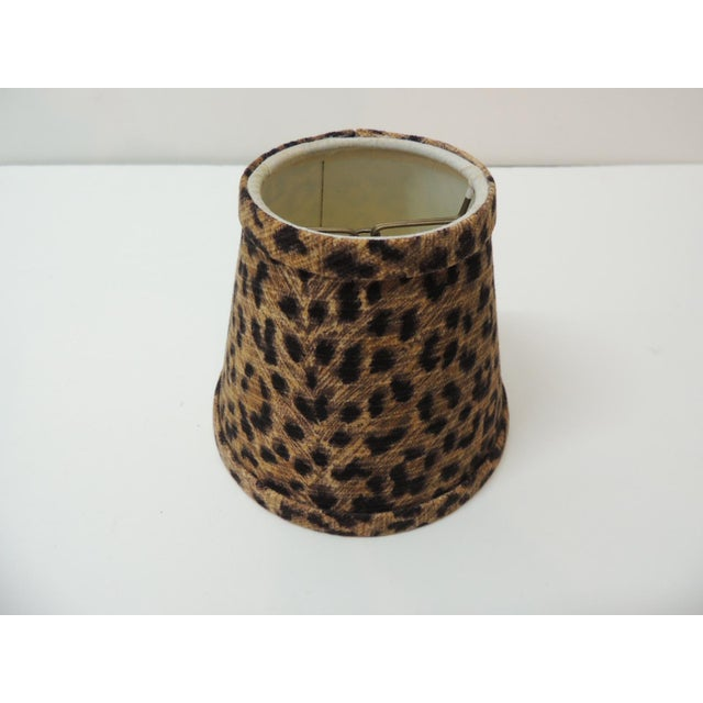 Small Candelabra Leopards Cotton Fabric Woven Lamp Shades and self welt. Small brass clip-on shades. Ideal for single...