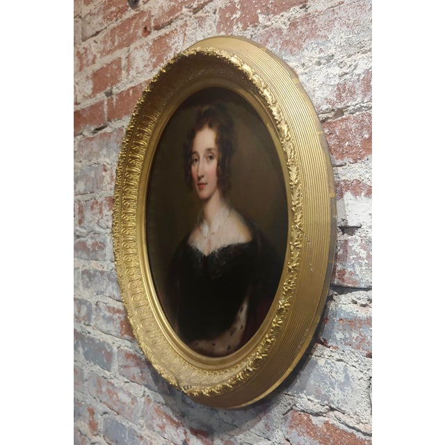 "George Healy ""Portrait of a Beautiful Aristocratic Lady"" Oil Painting, 19th Century For Sale In Los Angeles - Image 6 of 8"