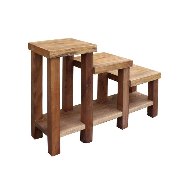 Asian Chinese Rustic Thick Light Wood Step Shape Side Table Plant Stand For Sale - Image 3 of 6