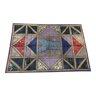Indian Sari Tapestry Blue Embroidered Patchwork Wall Hanging Throw For Sale
