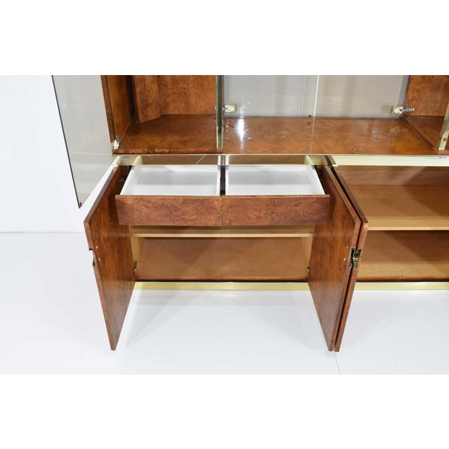 Gold 1970s Pierre Cardin Signed Burl Wood Sideboard With Two Tower Cabinets, France For Sale - Image 8 of 13