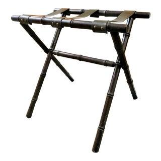 Dark Wood Faux Bamboo Vintage Luggage Rack Stand