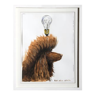 "Ray Smith, ""Poodle Lightbulb"", Watercolor on Paper For Sale"