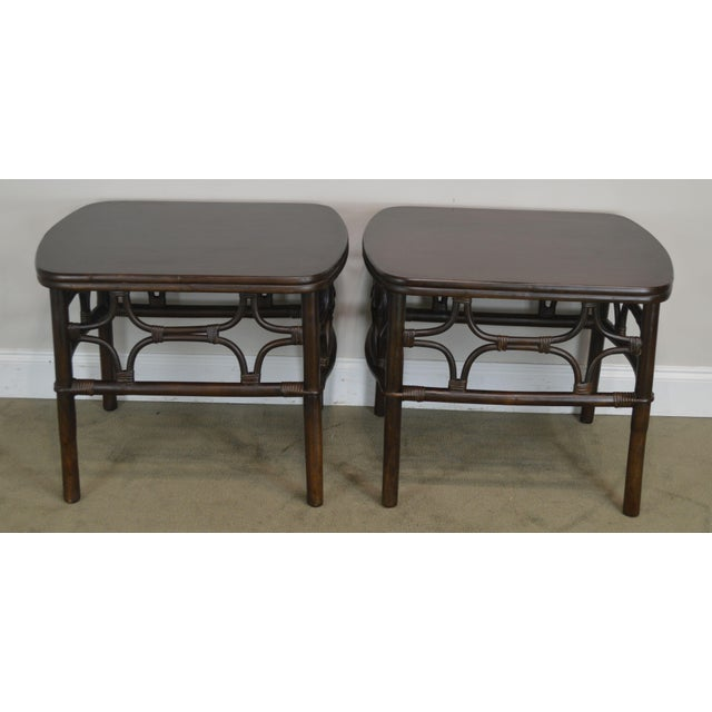 Traditional Vintage Rattan Pair Side Tables For Sale - Image 3 of 13