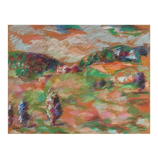Jack Freeman 20th Century Colorful Abstracted Hillside Drawing in Pastel For Sale
