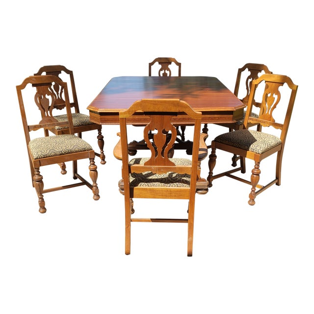new style 10f5c 0d021 1920s American Classical Walnut Dining Room Set - 7 Pieces
