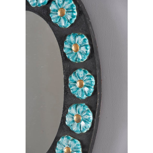 1970s Mid-Century Oval Ceramic Mirror With Flowers For Sale - Image 5 of 10
