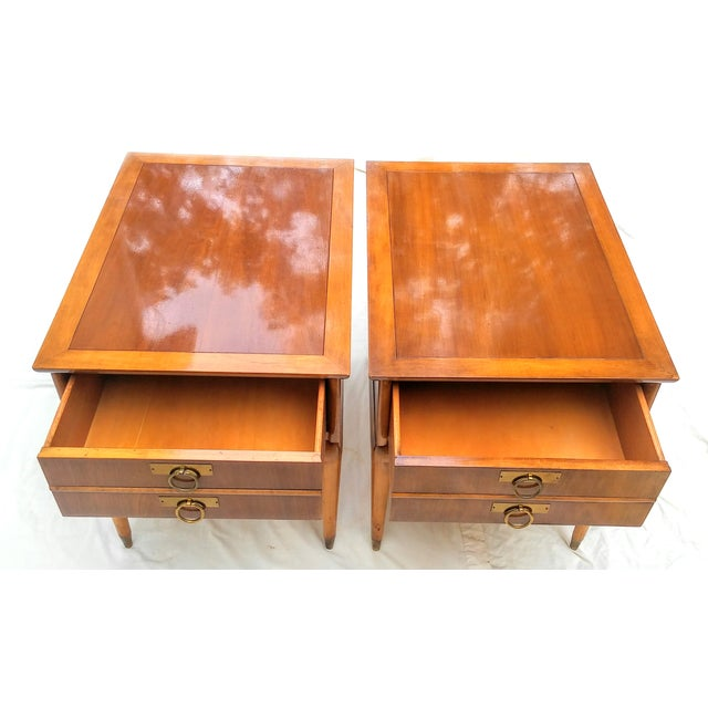 Mid Century Walnut Nightstands - a Pair - Image 6 of 10