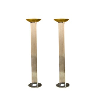 Mid-Century Lucite Torcheres With Brass Domes - a Pair For Sale