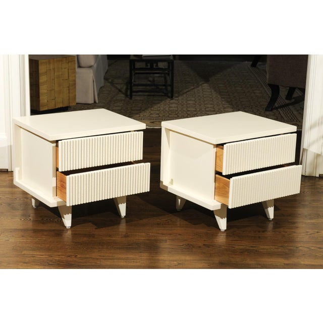 White 1938 Pair of Restored End Tables by Widdicomb in Cream Lacquer For Sale - Image 8 of 13