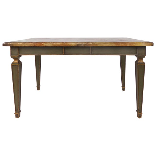 Faux Painted Writing Library Table With Green and Gilt Tapering Legs For Sale