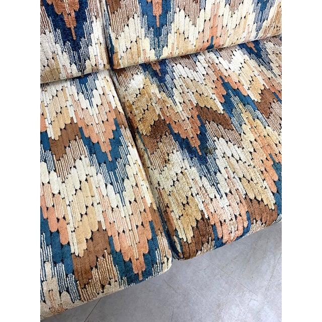1960s Vintage Zig Zag Velvet Sofa in the Style of Harvey Probber For Sale - Image 9 of 11