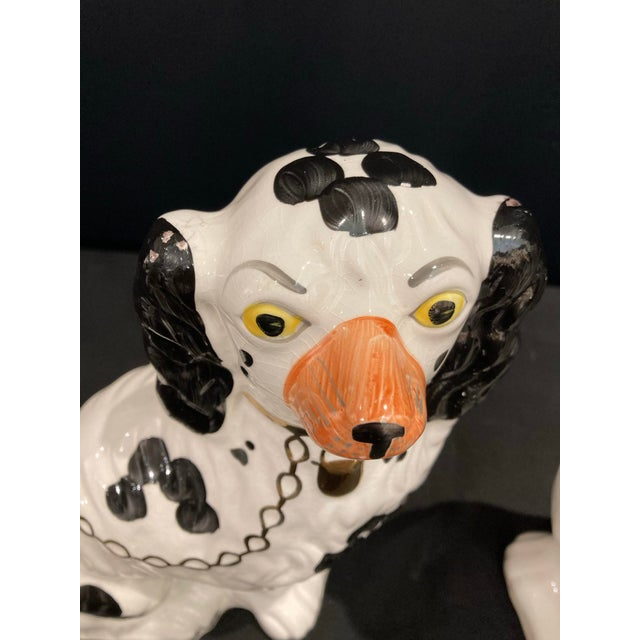 Vintage Early 20th Century English Staffordshire Black and White Dog Figurines - a Pair For Sale - Image 9 of 13