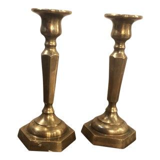 Vintage Brass Hexagonal Base Candlesticks - a Pair For Sale