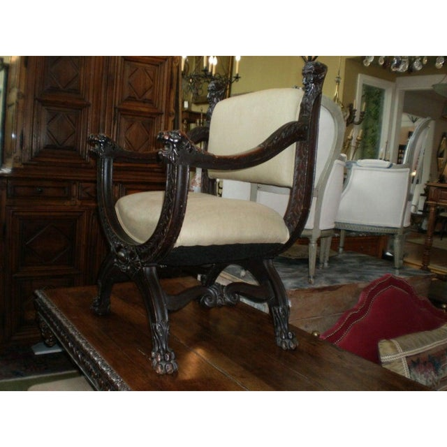 Italian 19th Century Antique Italian Carved Walnut Renaissance Style Chair For Sale - Image 3 of 10