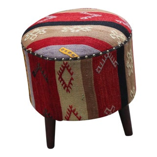 Authentic Round Ottoman Kilim Uphostery Footstool