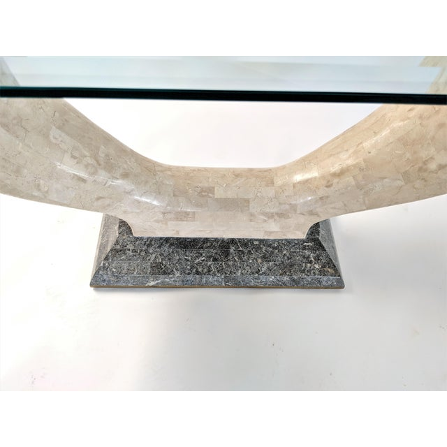1970s Mid-Century Modern Maitland Smith Tessellated Stone Console or Center Table For Sale In Miami - Image 6 of 13
