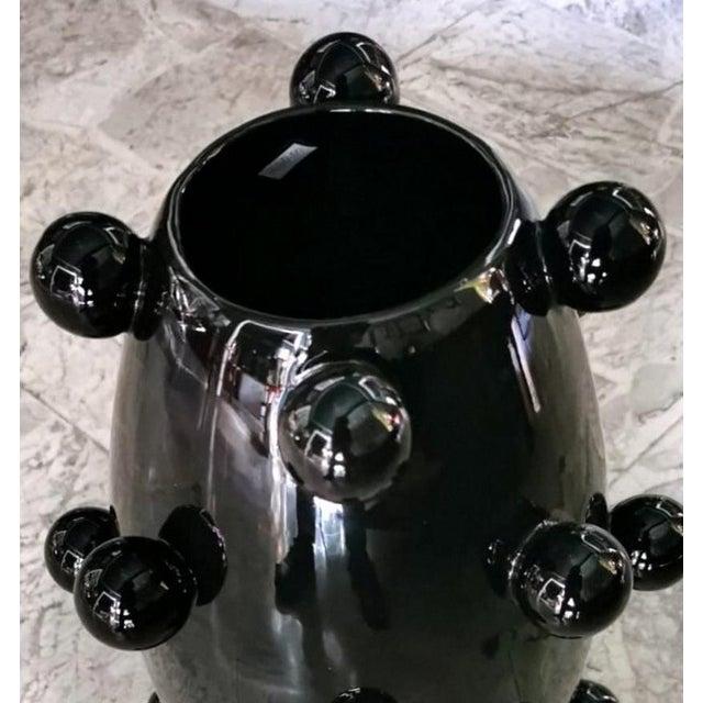 Black Black Polished Handmade Ceramic Sculpture Vase For Sale - Image 8 of 13