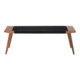 Walnut Bench With Handwoven Black Danish Chord For Sale