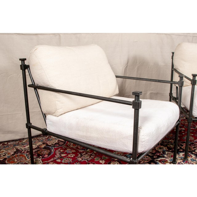 Modern Pair of Welded Construction Modern Armchairs For Sale - Image 3 of 8