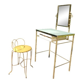 George Koch Brass Bamboo Vanity With Stool For Sale