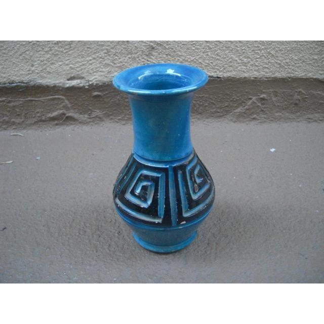 Ceramic Vintage Italian Greek Key Etched Ceramic Vase For Sale - Image 7 of 7