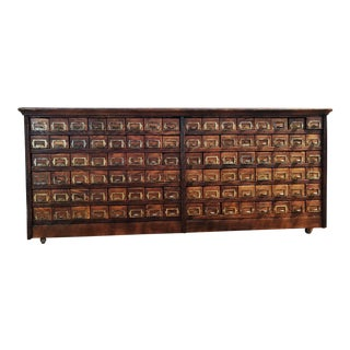 19th Century Victorian 96 Drawer Oak Hardware Store Cabinet For Sale