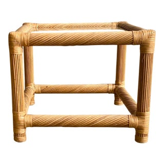 Wrapped Rattan Glass Top End Table For Sale