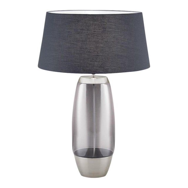 Stockholm Brushed Nickel Lamp With Smoke Glass For Sale