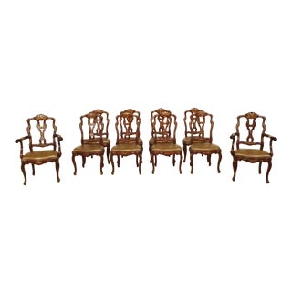 Set of 10 Baroque Chinoiserie Decorated Vintage Dining Room Chairs For Sale