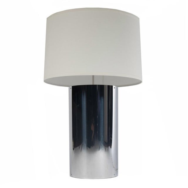 Super-chunky 1970s chrome bases with new white-linen shades. Each lamp takes two standard bulbs; switches on cords....