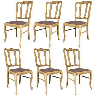 Late 19th Century Vintage French Oak Dining Chairs- Set of 6 For Sale
