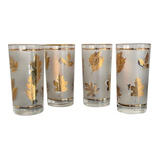 Mid-Century Libbey Glass Co. Golden Foliage Cooler Glasses- Set of 4 For Sale
