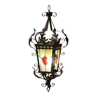 19th Century French Napoleon III Black Iron Lantern With Stained Glass Panels For Sale
