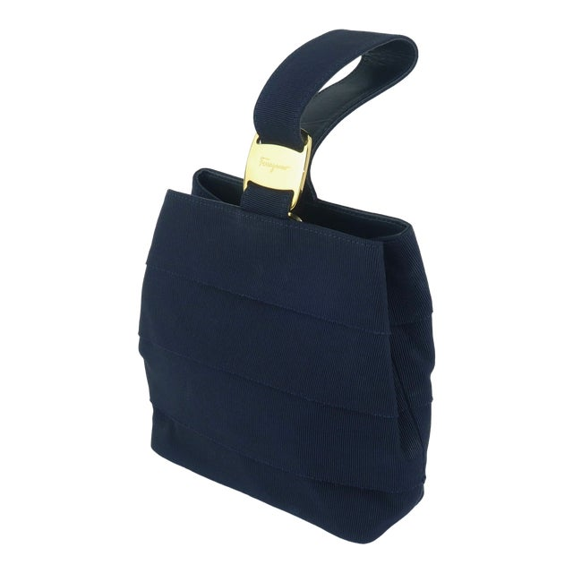 Ferragamo Blue Grosgrain Tiered Wristlet Handbag For Sale
