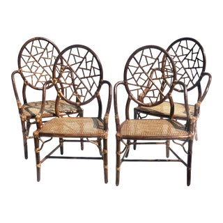Vintage McGuire Rattan Bamboo Dining Chairs - Set of 4 For Sale
